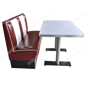 Retro American 1950 Style Diner Wood Table And Booth Set, Retro American  Booth Sofa Furniture
