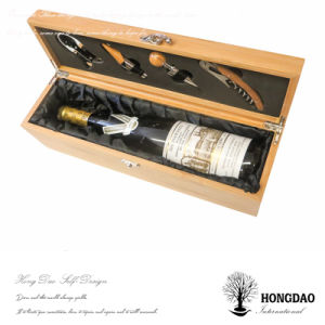 Hongdao Customized Wooden Wine Gift Box With Engraving Logo Wine Bottle Box Wood Wholesale E