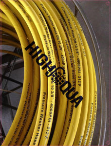 Yellow Pressure Washer Hose, Yellow Hydraulic Hose, Steel Wire Braided High Pressure Rubber Hose pictures & photos