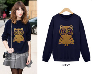2015 High Quality Sweatshirt Women Fashion Casual Cute White Owl Animal Print Beading Hoodies 3 Colors Pullover