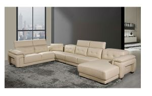 Italian Design Large Size Leather Lounge High Back U-Shaped Corner Leather  Sofa