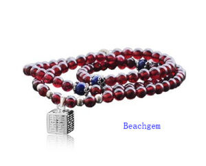 Natural Garnet Beads Bracelet with Silver Charm (BRG0021)