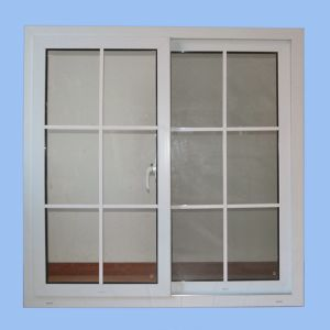 Double Glass with Grid White Colour UPVC Profile Sliding Window K02060