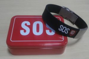 Silicone Medical Alert ID Bracelet with Tin Box