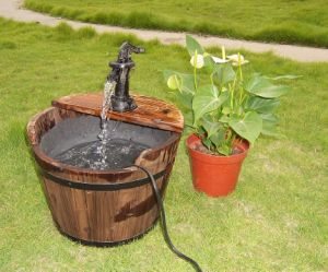 Rustic Barrel Water Pump Fountain Outdoor Backyard Garden