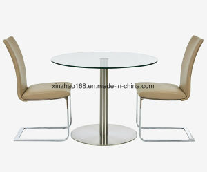 China Modern Tempered Glass Coffee Stainless Steel Round Glass