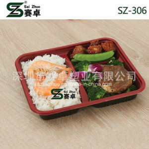 800ml Thicken 3 Compartment Disposable Plastic Food Box (SZ-306) pictures & photos