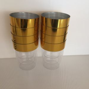 Plastic Cup, Glass, Mug, Tableware, PS, Disposable, Golden, GB-12, Clear, Hot Stamp Cup