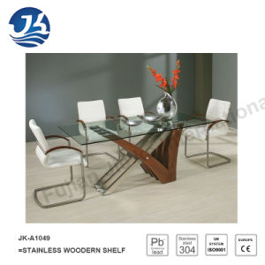 New Design Stainless Steel Wood Dining Table (JK-A1049)