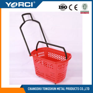 Cheap Supermarket Store Plastic Shopping Basket with One Handle for Sale with Wheels pictures & photos