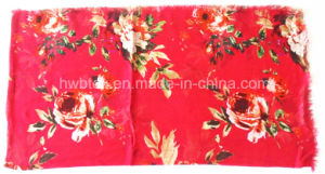 Fashion Red Flourish Printing Lady Scarf in 100% Viscose (HWBVS053) pictures & photos