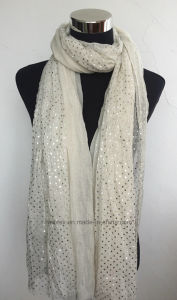 Shiny Dots Printed Woman Fashion Stole / Polyester Scarf (HWBPS094) pictures & photos