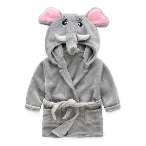 Baby Hooded Towel and Kids Animal Bathrobes Flannel Nightclothes