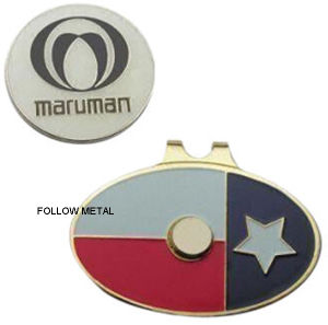 Hat Clip and Ball Marker, Stainless Steel for Golf. Gift