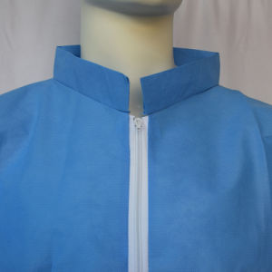 SMS Disposable Blue Lab Coat with Zipper pictures & photos
