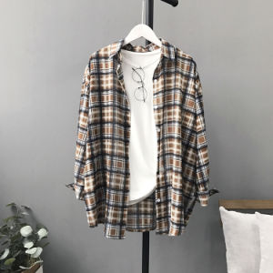 Fashion Hot Women Long Sleeves Blouses Plaid Shirt pictures & photos