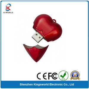 Promotion Plastic Heart USB Flash Drive with USB Package