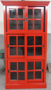 Antique Furniture Red Wooden Sliding Door Cabinet Lwa536-1 pictures & photos