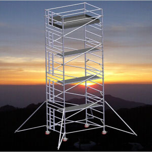 Aluminum Alloy Double-Wide Scaffold Tower with Casters pictures & photos