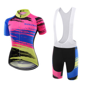 Custom Women Sublimated Short Sleeves Cycling Jersey and Bib Shorts pictures & photos