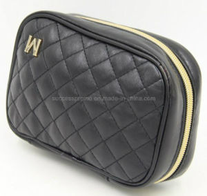 Black PU Toilet Cosmetic Bag with Sponge Inside, Promotional Make up Bag pictures & photos