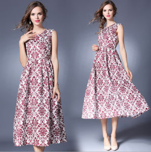 Summer New Style Sleeveless Vest Big Skirt Printing Long Women′s Dress