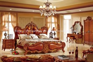 Luxury Solid Wood Hand Carving Leather American Style Bed (TH-512)