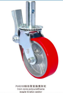 Scarford Swivel Caster with PU Wheel Cast Iron Core Double Brake