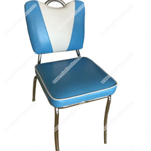 High Quality V Shape Vinyl Retro 1950s Diner Metal Chair, Metal With Chrome  Frame American
