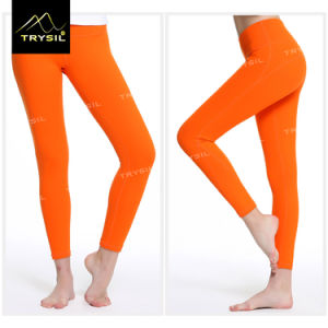 Ladies Ankle Legging Yoga Pants Pure Color