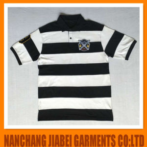 Men′s Yarn Dyed Polo Shirt CVC with Embroidery Sport Style