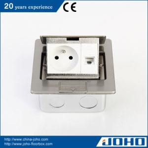 Stainless Steel Desk Power & Floor Sockets with French Socket CAT6 (DCT-M28/PB)