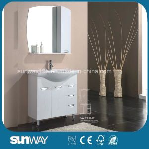 Floor Standing Gloss Painting MDF Bathroom Cabinet with Mirror pictures & photos