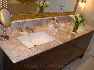 China Cheap Grey Fior Di Esco Marble Bathroom Vanity Tops China Grey Cultured Marble Vanity Tops Golden Cloud Marble