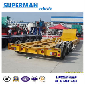12m 60t 3 Axle Tower/ Cargo Transport Lowbed/Lowdeck Semi Truck Trailer pictures & photos