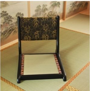 Classic Japanse Style Foldable Wooden Floor Chair, Zaisu Chair With Tatami  Mat Seat In Black