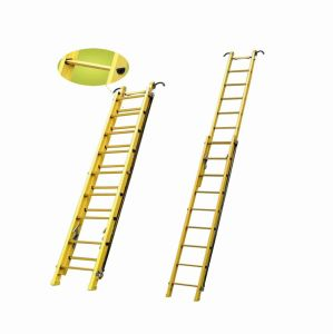 (375LBS) 220kv Yellow Fiberglass Single-Side Grooved Rail Extension Ladder pictures & photos