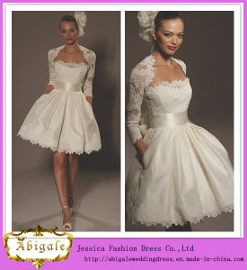 2014 Charming Ball Gown Strapless Lace Knee Length Long Sleeve White Lace Knee Length Wedding Dress (hs030)