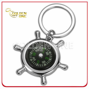 Nickel Plated Steering Wheel Zinc Alloy Key Chain with Compass pictures & photos