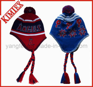 Acrylic Knitted Earflap Tassel Hat with POM POM pictures & photos