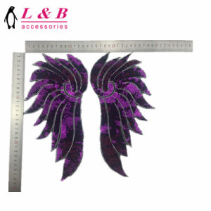 Different Kinds of Beaded Sequins Embroidery Wing Patch pictures & photos