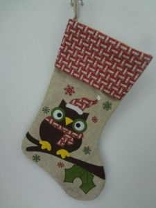 owl design handmade rustic christmas stocking - Rustic Christmas Stocking