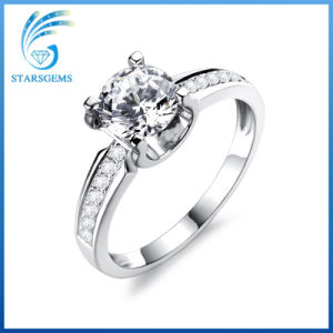 Classic Style Four Prongs Cubic Zirconia Setting White Gold Plated Silver Ring