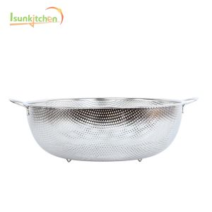 Kitchen Accessories Round Stainless Steel Drain Sieve Strainer Hanging Fruit Basket