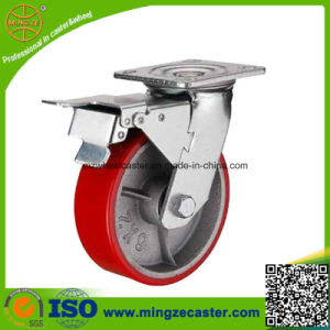 Heavy Duty Industrial Cast Iron Center PU Swivel Castor pictures & photos