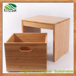 Bamboo Stool with Shoe Storage Basket pictures & photos