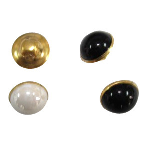 18L Metal Shank Brass Button Has Pearl Effect Plastic Top