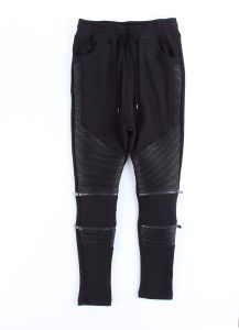 Black PU Long Pants for Men pictures & photos