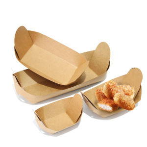 Disposable Food Kraft Paper Boat Tray