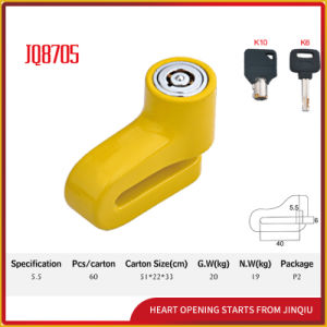 Jq8705 Yellow Color Safety Durable Bicycle Lock Motocorcycle Disk Lock with Keys pictures & photos